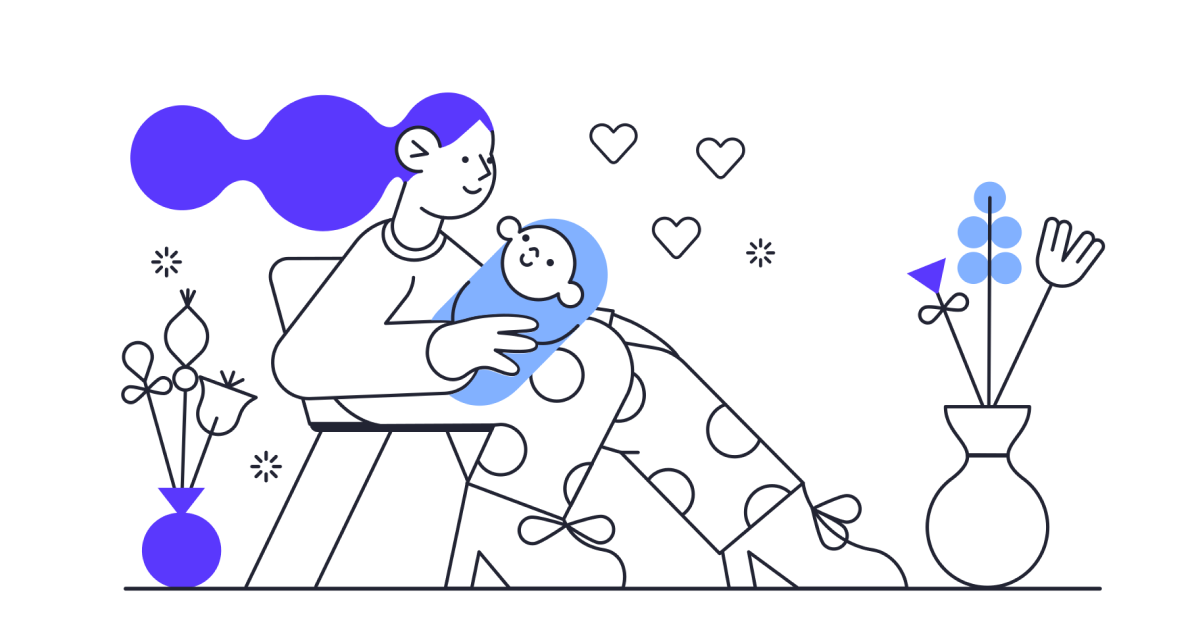 Illustration of a mom sitting on a chair and holding a baby
