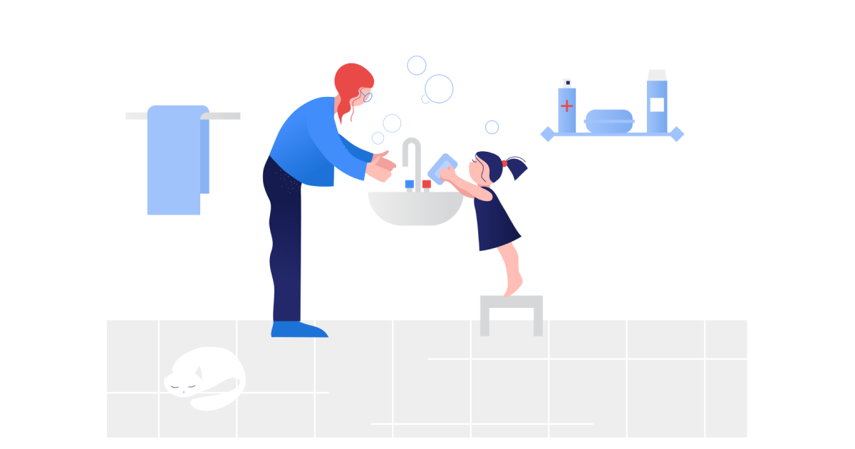 Illustration mother and daughter washing hands