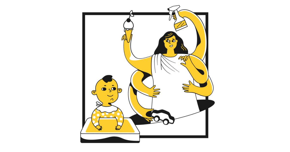 Illustration mother with six hands cleans baby's toys