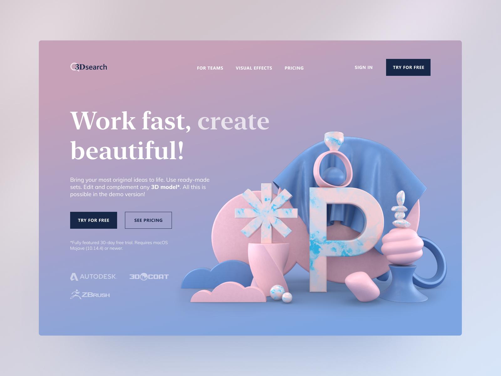 Web design inspiration: landing page by Polina Chebanova