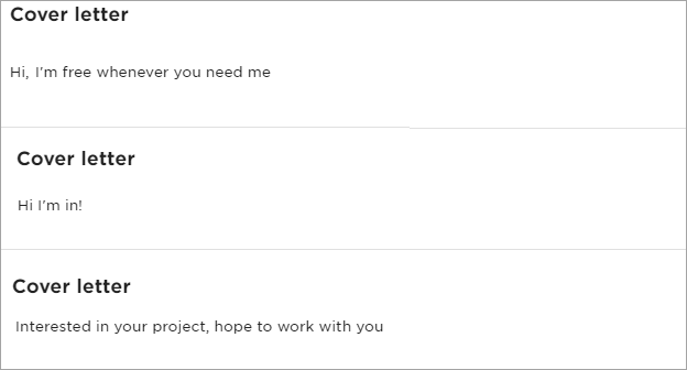 Writing Cover Letters on Freelance Marketplaces: example of a job application. Shorties response