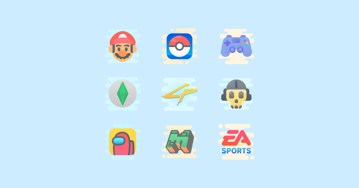 Geek Pride Day icons set on a light blue background: Ea Sports, Super Mario, The Sims 4 App, Game Controller, Minecraft Logo, Call Of Duty Warzone, Pokemon