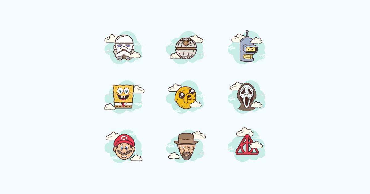 Geek Pride Day icons set on light blue background: Bender, Walter White, Jake, Spongebob Squarepants, Super Mario, Scream, Stormtrooper, Death Star