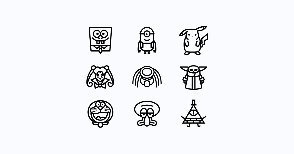 Geek Pride Day icons set on a light grey background: Minion, Sailor Moon, Spongebob Squarepants, Predator, Baby Yoda, Squidward Tentacles, Doraemon, Pikachu