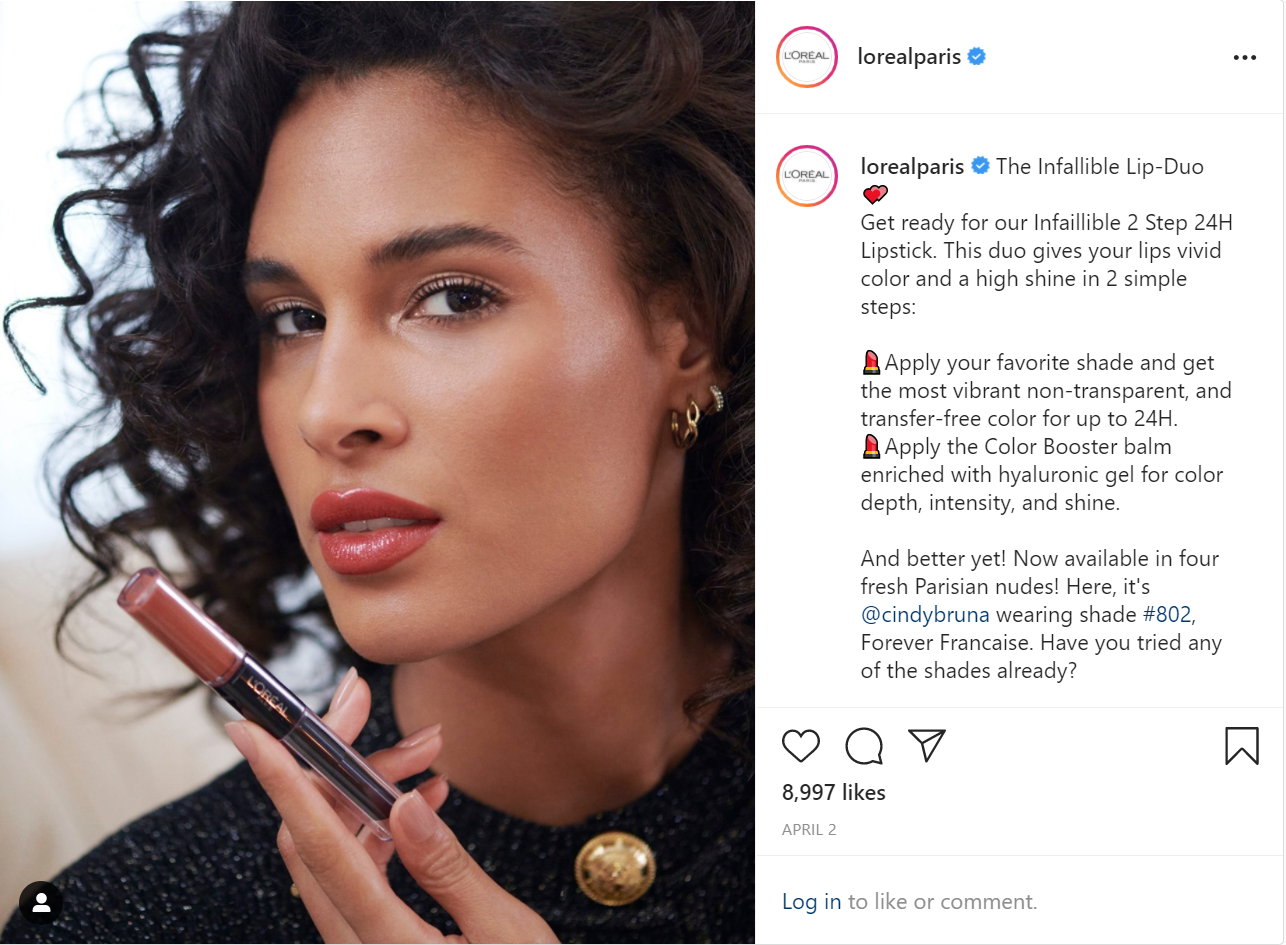 Why photography and videography matter for your website: lorealparis instagram post