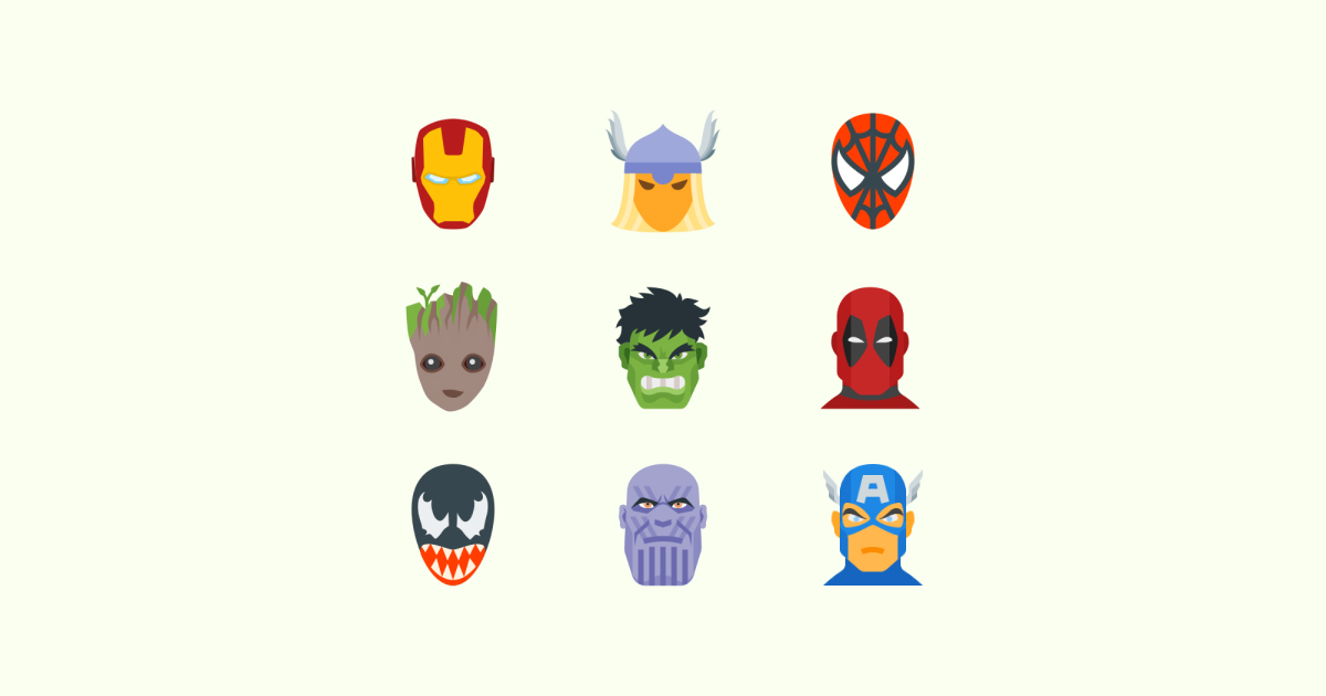 Geek Pride Day icons set on light green background: iron man, halk, venom, spiderman, Tor, captain america