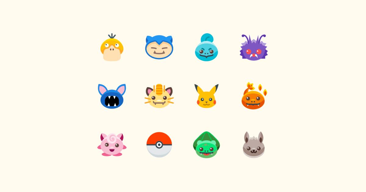 Geek Pride Day Pokemon icons set on a light yellow background: Pikachu Pokemon, Snorlax, Zubat, Bullbasaur, Charmander, Pokeball, Meowth, Jigglypuff, Venonat, Squirtle, Psyduck