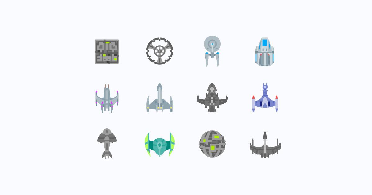 Geek Pride Day Star Trek icons set on light grey background: Star Trek Klingon Ship, Star Trek Romulan Ship, Star Trek Kumari Ship, Star Trek Cardassian Ship