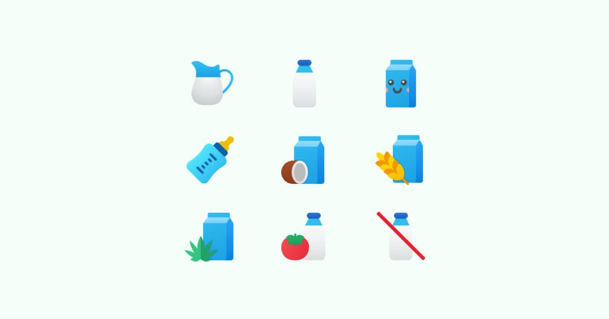World milk day 2021: icons set on light green background