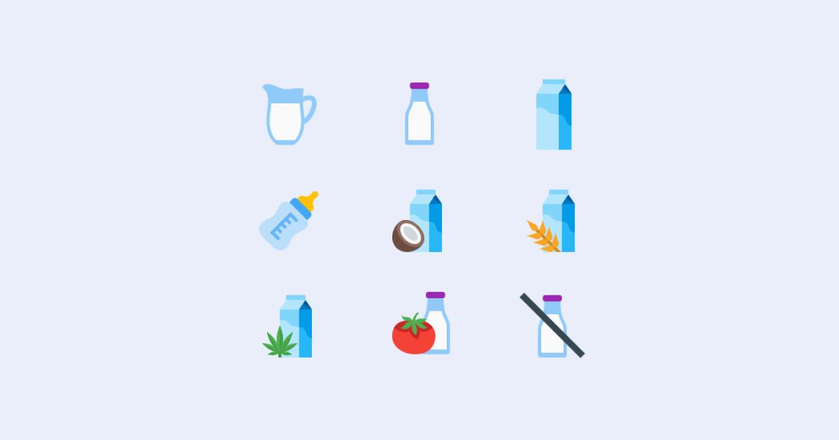 World milk day 2021: icons set on light grey background