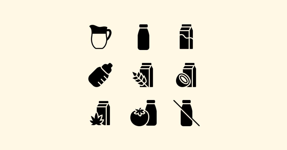 World milk day 2021: icons set on light yellow background